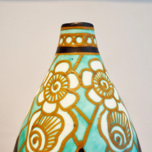 Art Deco Early 20th Century Charles Catteau Earthenware Vase For Sale - Image 3 of 8