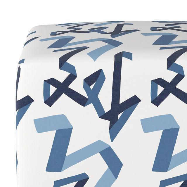 Contemporary Cube Ottoman in Navy Ribbon by Angela Chrusciaki Blehm for Chairish For Sale - Image 3 of 5