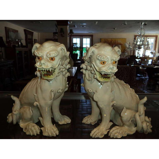 Asian 19th Century Porcelain Foo Dogs - a Pair For Sale - Image 3 of 11