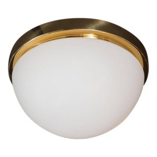 Mid-Century Frosted Glass and Brass Flush Mount Fixture by Glashütte Limburg For Sale