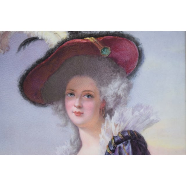Late 19th Century 19th Century Antique O. Brun Elisabeth of France Continental Hand-Painted Porcelain Plaque For Sale - Image 5 of 10