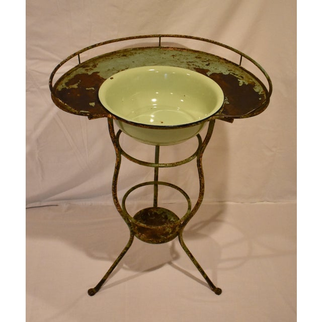 Wrought Iron Washstand With Enameled Copper Bowl For Sale - Image 11 of 11