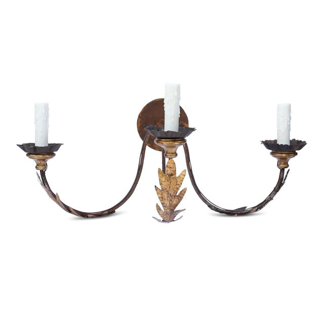 Metal Pair of Large Gilt-Iron Sconces For Sale - Image 7 of 13
