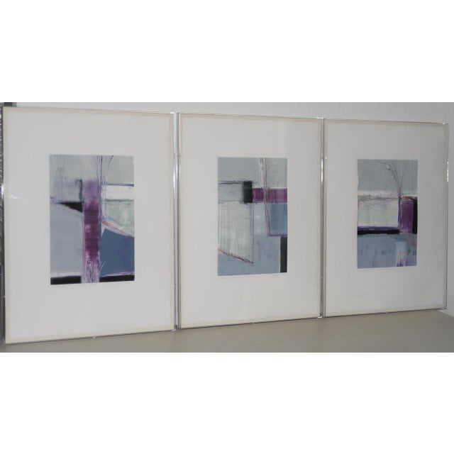 "Ron Pokrasso (Santa Fe, 20th c.) ""A Relationship Between Trees #2"" Triptych Monotype c.1988 Beautiful trio of monotypes by..."