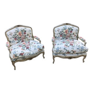 1950s Vintage French Louis XV Style Bergeres- A Pair For Sale