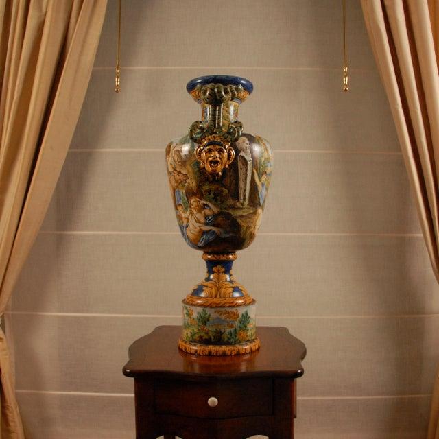 Italian Majolica Serpentine Handle Mythological Vase For Sale - Image 4 of 13