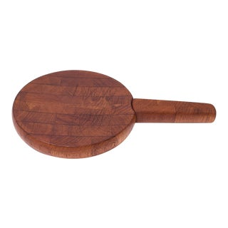 Early Jens Quistgaard for Dansk Staved Teak Cutting Board With Knife For Sale