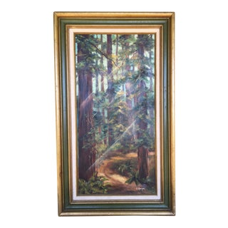 1940s Vintage Redwood Grove Oil Painting For Sale