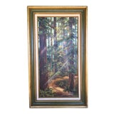 Image of Redwood Grove Oil Painting Signed For Sale