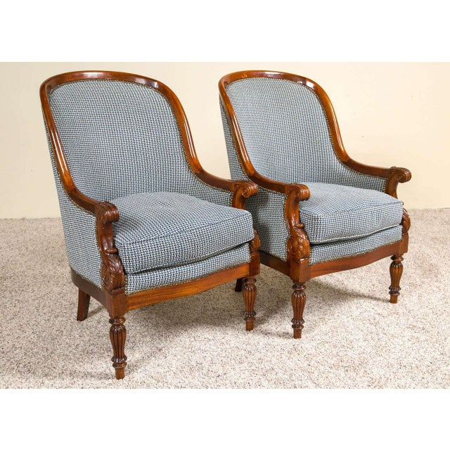Pair Mahogany Empire Style Armchairs For Sale In New York - Image 6 of 9