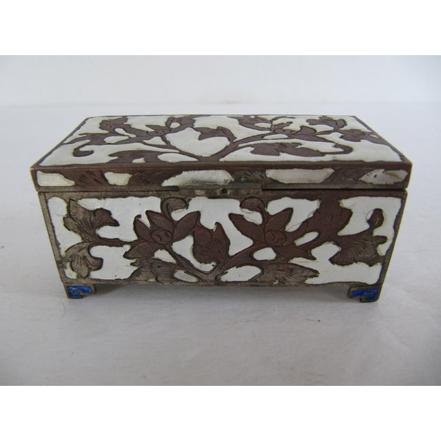 Blue Antique Cloisonnée Two Sided Stamp Box For Sale - Image 8 of 8