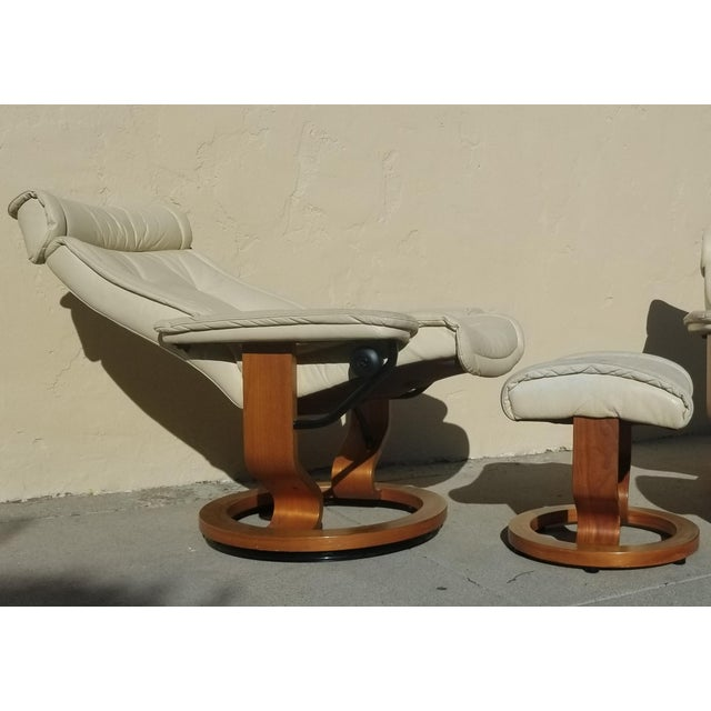 Vintage Ekornes Leather Lounge Chair And Ottoman Set