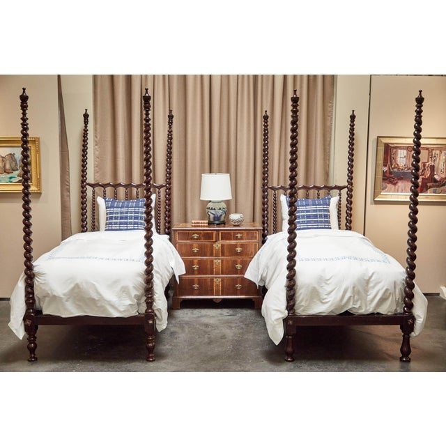 Early 20th C. Spanish Majorcan Walnut Poster Beds - a Pair For Sale - Image 12 of 12