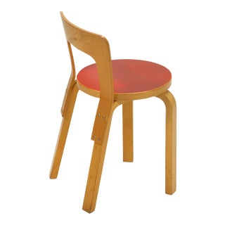 Alvar Aalto Model 65 Chair With Red Seat by Artek For Sale
