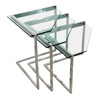 Mid-Century Modern Milo Baughman Chrome Nesting Tables - Set of 3 For Sale