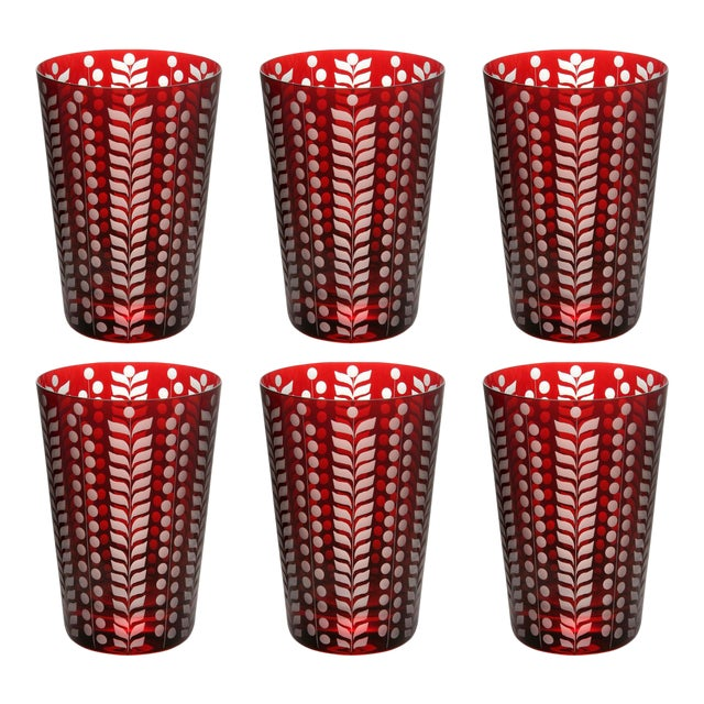 Pariz Tumblers, Red, Set of 6 For Sale