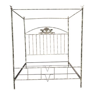 Shabby Chic Patina Iron King Sized Bedframe For Sale