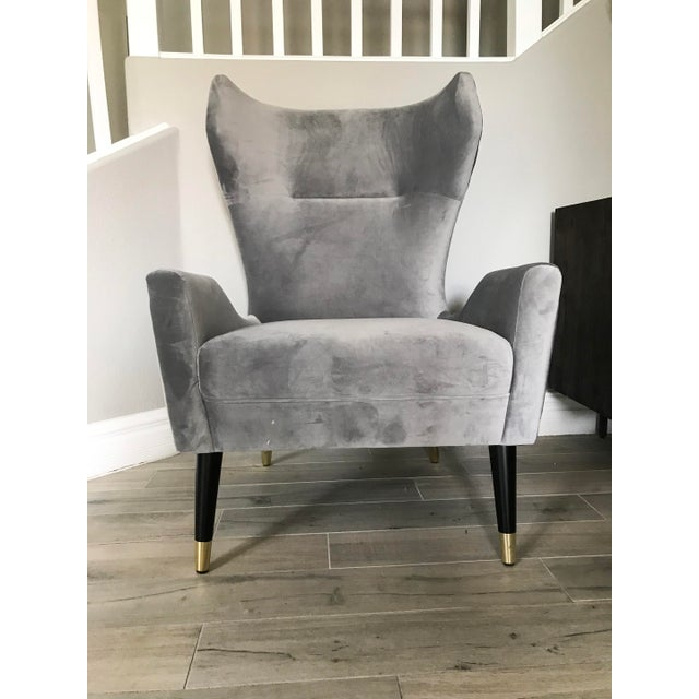 Contemporary Grey Velvet Italian Modern Style Wingback Chair For Sale - Image 3 of 6