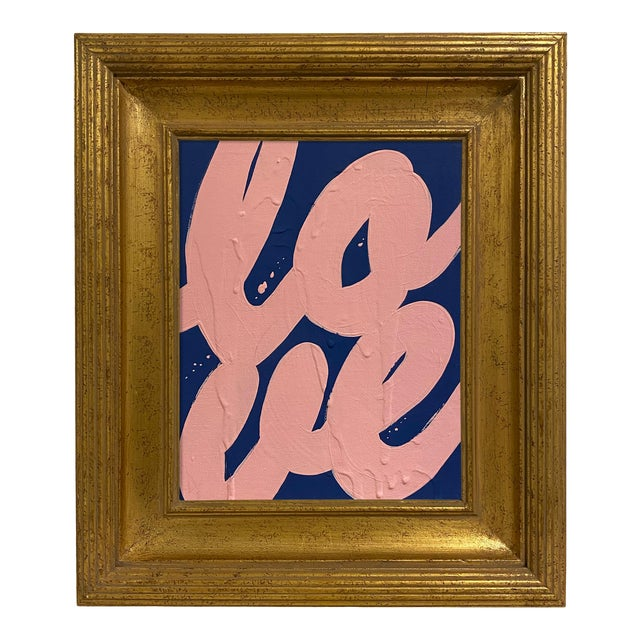 Ron Giusti Mini Love Navy Blush Painting, Framed For Sale