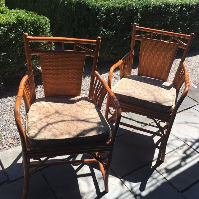 Palecek Cane Chairs, pole rattan form, cane matting on back and rattan cane on seats. Custom seat cushions included.