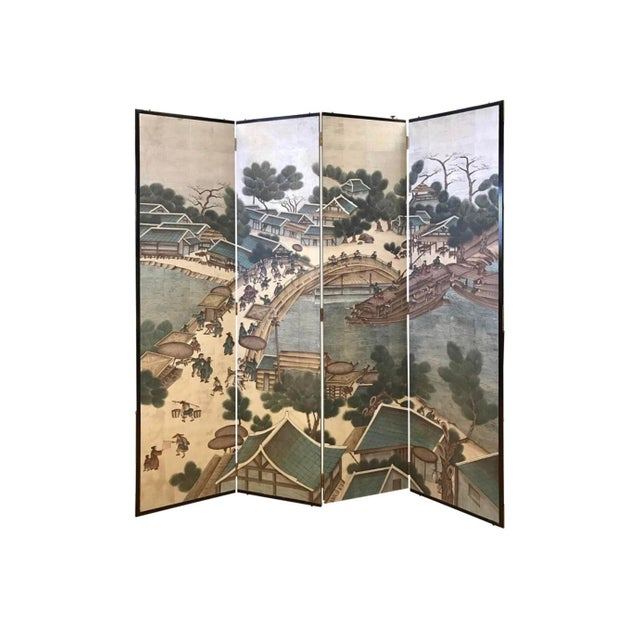 Ceramic Vintage Chinese Hand Painted-Folding Screen Room Divider For Sale - Image 7 of 7