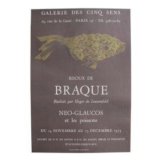 1973 Original French Exhibition Poster - Bijoux De Braque Par Heger De Loewenfeld - Neo-Glaucos Et Les Poissons For Sale