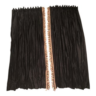 Custom Black Silk Drapery Panels With Tassels - A Pair