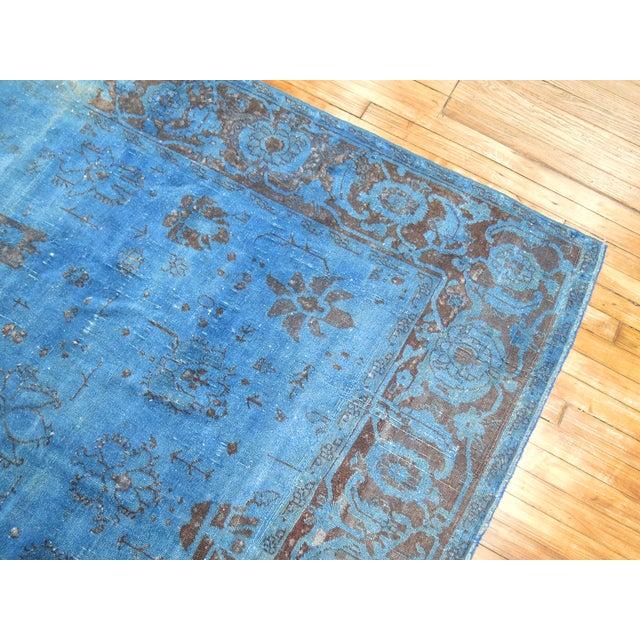 """Textile Cobalt Blue Overdyed Vintage Rug - 6'4"""" x 10'6"""" For Sale - Image 7 of 10"""