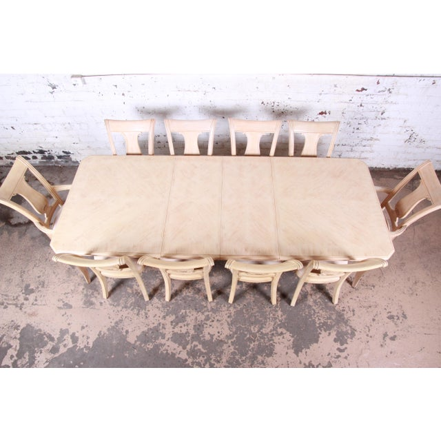 Contemporary Bernhardt Mediterranean Style Carved Maple Dining Set With Ten Chairs For Sale - Image 3 of 13