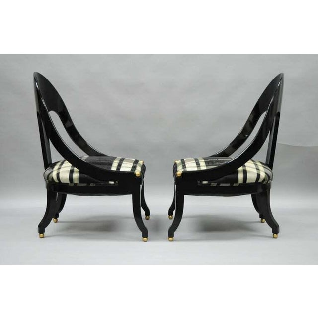 Regency 1960s Vintage Michael Taylor Baker Black Lacquer & Gold Spoon Back Slipper Lounge Chairs- A Pair For Sale - Image 3 of 10