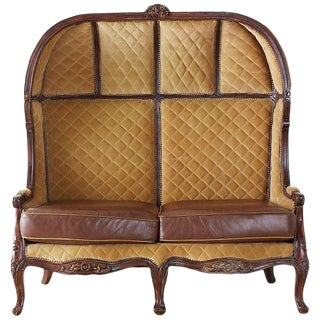 English Regency Style Porter's Settee or Canopy Settee For Sale