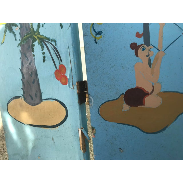Wood 1960s Tall Hand Painted Indochine Wood Screen For Sale - Image 7 of 11