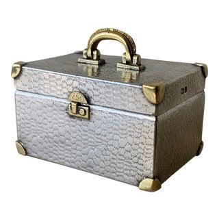 Vintage Sterling Silver + 18k Gold Tiffany Co Miniature Trunk Designed by Karel Bartosik, Circa 1980s For Sale
