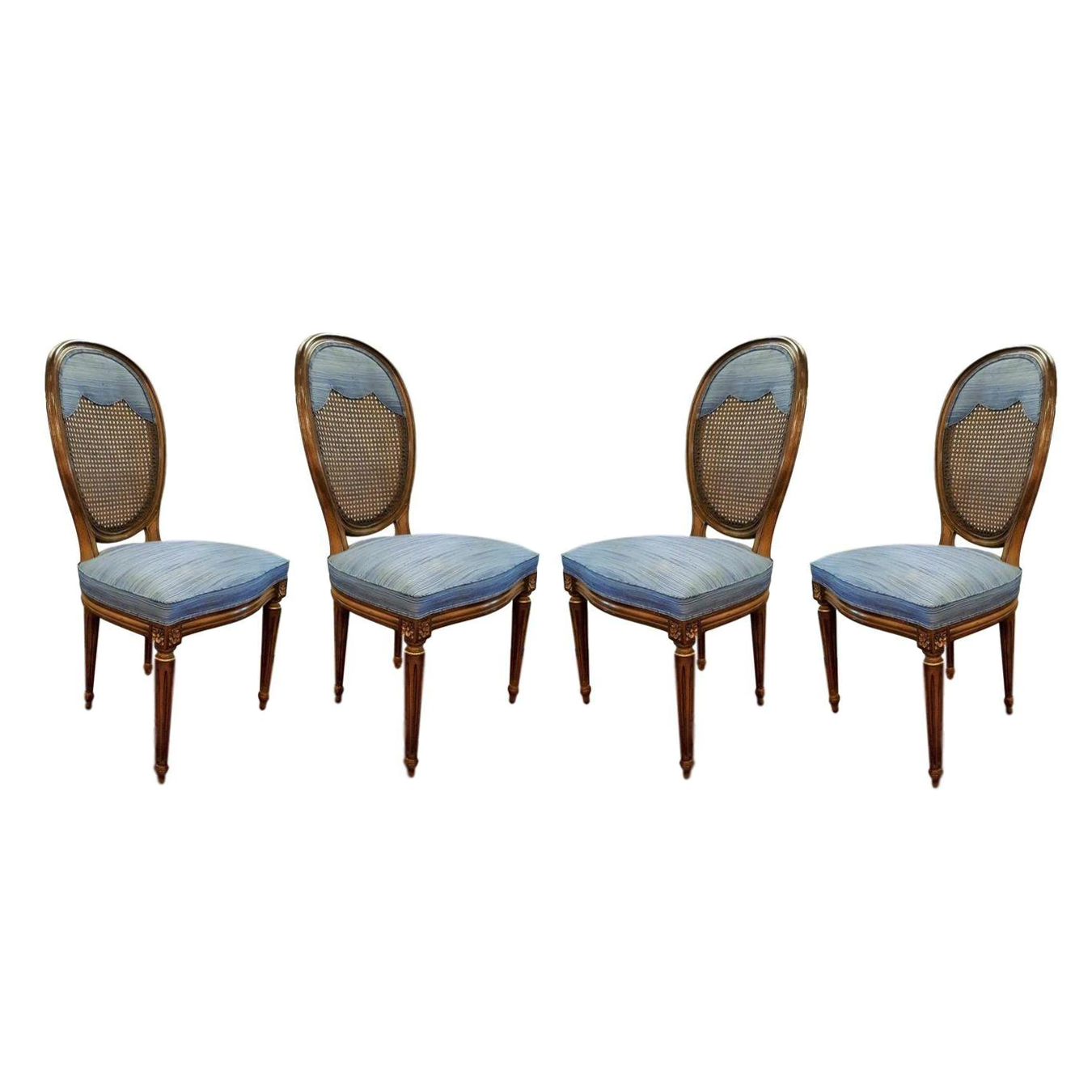Awesome Blue Round Back Dining Chairs   Set Of 4
