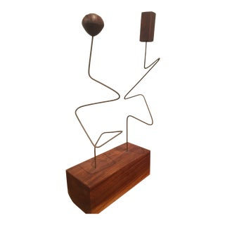1960s Vintage Abstract Brass & Teak Kinetic Sculpture For Sale
