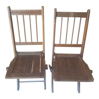 Vintage Spindle Wood Folding Chairs - a Pair For Sale