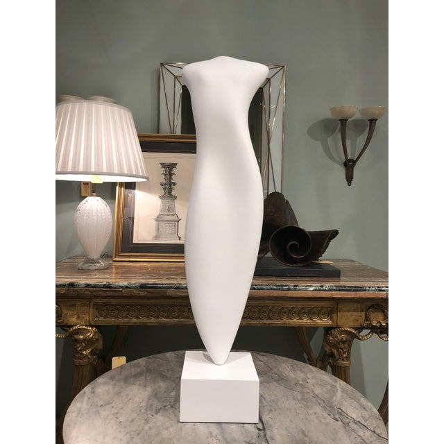 American postwar design aqua resin and acrylic sculpture of a vertical form 'Goddess Ethereal' on a white painted wood...
