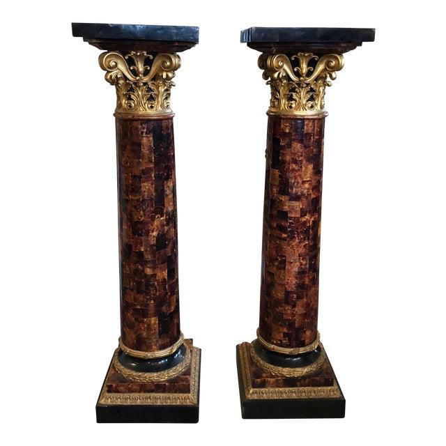 1900s Louis XV Gilt Corinthian and Verified Tortoise Shell Pedestals - a Pair For Sale