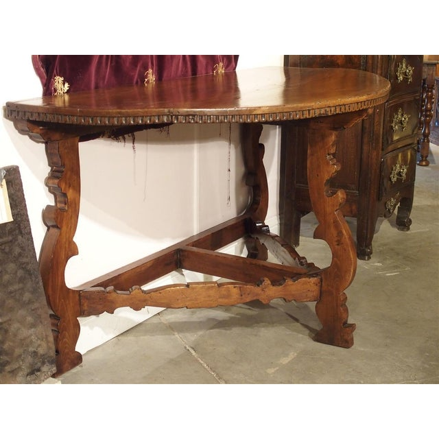 18th Century Italian Walnut Wood Demi Lune Console Table For Sale - Image 4 of 13