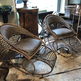 French 20th C. Chaise and Ottomans by Maurice Barilone, Pair Preview