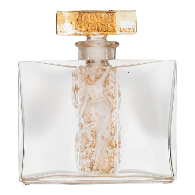 French Art Deco Rectangular Clear Glass Perfume Bottle For Sale