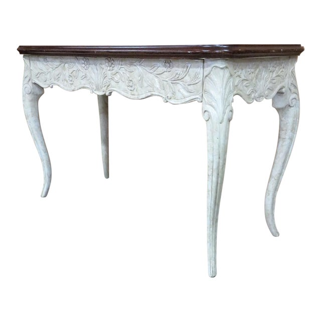 French Style Faux Painted Carved Console Table For Sale