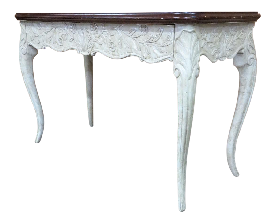 Bon French Style Faux Painted Carved Console Table