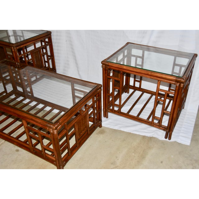 1980s Vintage McGuire Style Bamboo Rattan Glass Top Tables- Set of 3 For Sale In Palm Springs - Image 6 of 12