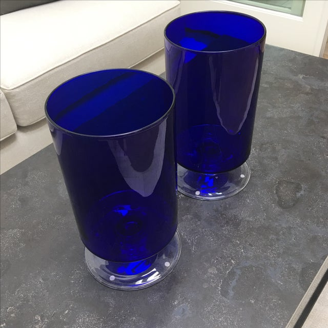 Cobalt Blue Glass Hurricanes For Sale - Image 5 of 6