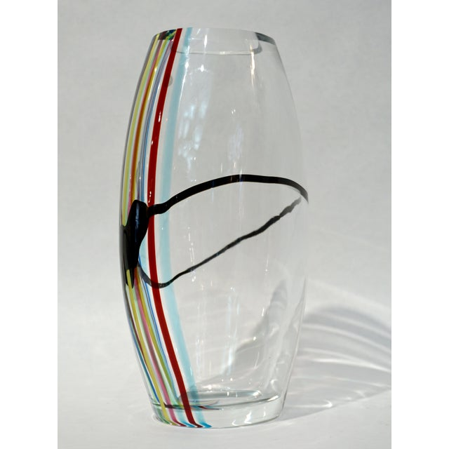 Modern 1970 Formia Italian Pop Art Tall Yellow Green Red Blue Crystal Murano Glass Vase For Sale - Image 3 of 11