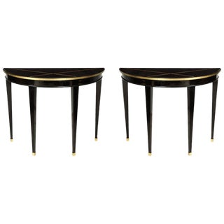 Custom Pair of Ebonized Demilune Consoles With Inlaid Brass Top For Sale