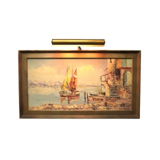 Vintage Italian Landscape Painting With Gallery Lamp