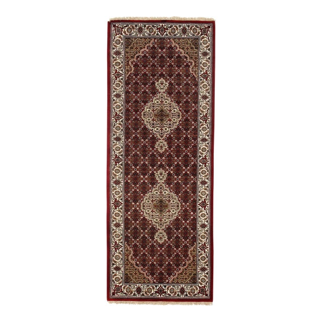 "Traditional Pasargad N Y Fine Tabriz Mahi Design Silk & Wool Rug - 2'6"" X 6'8"" For Sale"