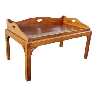 George III Mahogany Tray Top Coffee Table on Later Stand For Sale